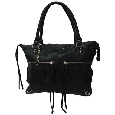 Sasha Tube Handle Tote Bag - Black