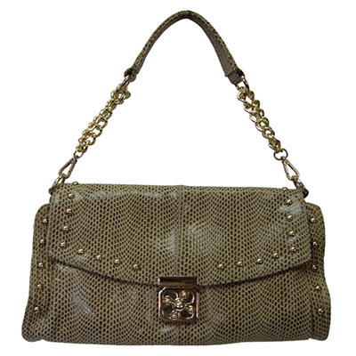 Sasha Python Embossed Leather Handbag - Tan