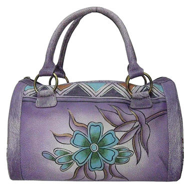 Sasha Aztec Print Leather Satchel - Lilac