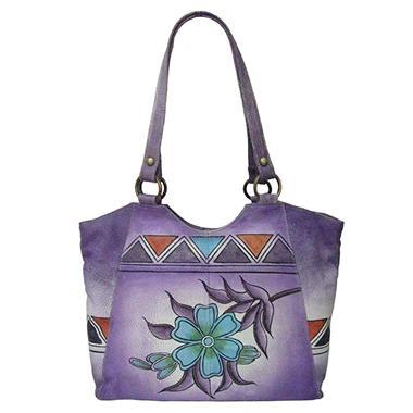 Sasha Aztec Printed Leather Tote - Lilac