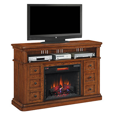New Fremont Media Mantel Electric Fireplace Heater Infrared Oak Stand