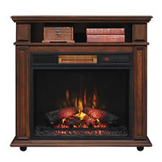 Rolling Mantel with Infragen™ Electric Fireplace (Walnut Brown)