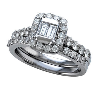 1.25 ct. t.w. Baguette and Round Cut Diamond Bridal Ring in 14k White Gold (I, I1)