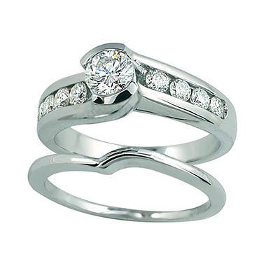 1.00 ct. t.w. Round Cut Diamond Engagement Ring Set in 14k White Gold (I, I1)