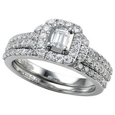 1.00 ct. t.w. Emerald Cut Diamond Bridal Ring Set in 14k White Gold (I, I1)