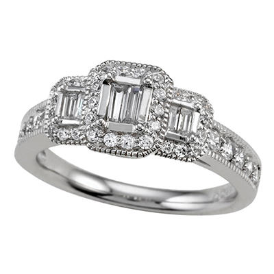 0.75 ct. t.w. Baguette and Round Cut Diamond Bridal Ring in 14k White Gold (I, I1)