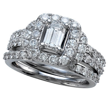 2.00 ct. t.w. Emerald Cut Diamond Bridal Ring Set in 14k White Gold (I, SI2)