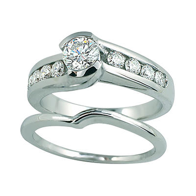 1.00 ct. t.w. Round Cut Diamond Bridal Ring Set in 14k White Gold (I, I1)