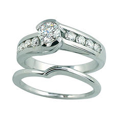 1.00 ct. t.w. Round Cut Diamond Bridal Ring Set in 14k White Gold (I, I1)