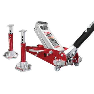 Big Red - 1.5 Ton Professional Low Profile Aluminum Service Jack Combo