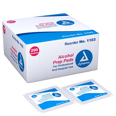 D - Dynarex Alcohol Prep Pads - 200/Box - Medium