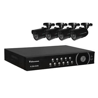 Clover 4 Channel Security System with 4 Indoor/Outdoor NV Cameras and 500GB HDD Ready DVR