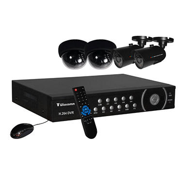 Clover 4 Channel Security System with 4 Indoor/Outdoor NV Cameras, 2 Indoor NV Dome Cameras and 500GB DVR