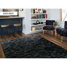 Black Rectangular Brick Tile Cowhide Rug (6' x 4')