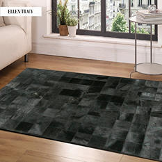 Black Square Tile Cowhide Rug (9' x 6')