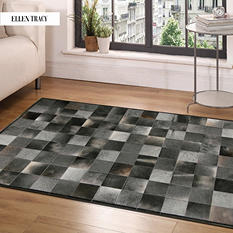 Grey Square Tile Cowhide Rug (9' x 6')