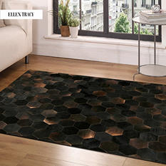 Dark Brown Hexagon Tile Cowhide Rug (9' x 6')