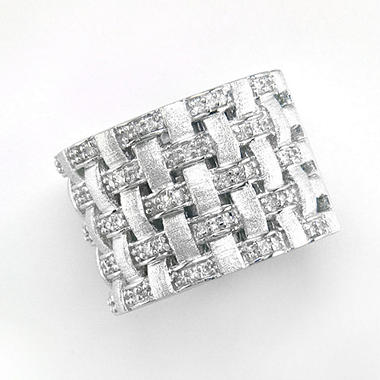 .25 ct. t. w. Diamond & Sterling Silver Weave Design Band (H-I, I1)