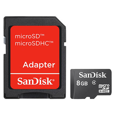 SanDisk 8GB Micro SDHC Memory Card with Adapter