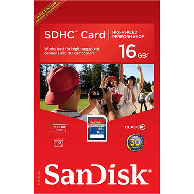 SanDisk 16GB Class 10 SDHC Memory Card