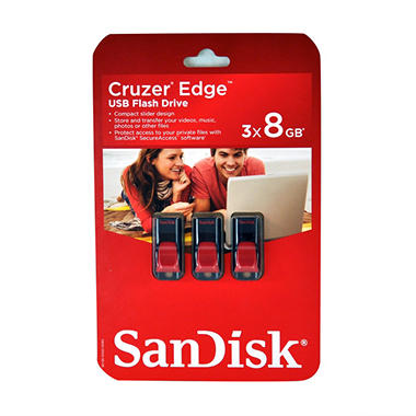 SanDisk Cruzer® Edge™ 8GB USB Flash Drive - 3 pk