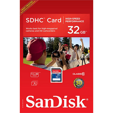 SanDisk 32GB Class 10 SDHC Memory Card