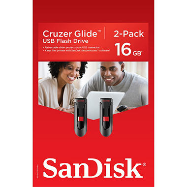 SanDisk Cruzer Glide USB 2.0 Flash Drive 16GB, 2-pack