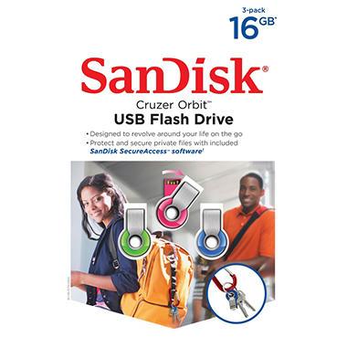 SanDisk 16GB USB Flash Drive, 3 pack