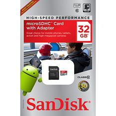 SanDisk 32GB Class 10 Micro SD Memory Card with Adapter