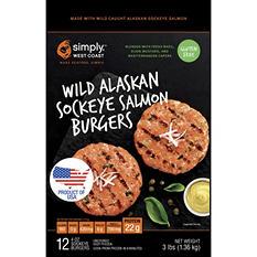 Simply. West Coast Wild Alaskan Sockeye Salmon Burgers (4 oz., 12 ct.)