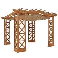 Yardistry Arched Roof Pergola with Retractable Sunshade (Choose size and color)