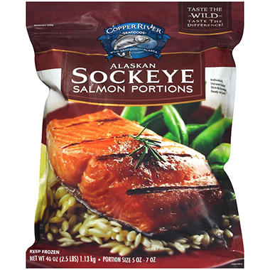 Copper River Seafoods Alaskan Sockeye Salmon Portions (40 oz.)