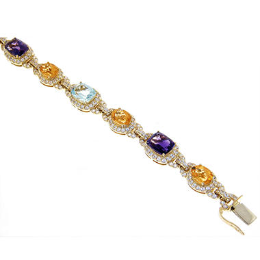 17 ct. tw. Multi-Gem 14K Yellow Gold Bracelet