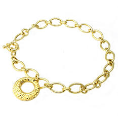 14K Yellow Gold Charm Bracelet - 7.5""