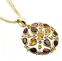 14K Yellow Gold Multi-Gem Medallion Pendant
