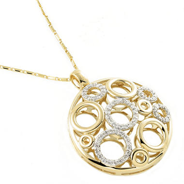 .50 ct. t.w. Diamond Open Circles Medallion Pendant in 14k Yellow Gold (H-I, I1)