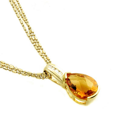 Pear-Shaped Citrine & Diamond Accent Pendant in 14K Yellow Gold