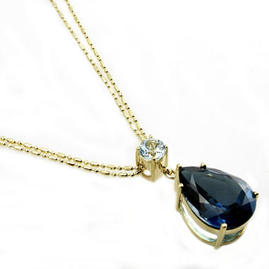 London Blue Topaz  & Sky Blue Topaz Pendant in 14K Yellow Gold