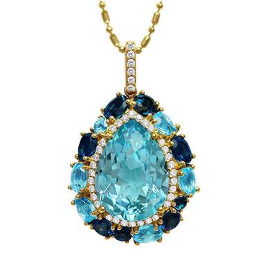 TRTD BLUE TOPAZ PEND .19TW DIAMOND - 14KY