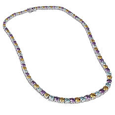 38 ct. t.w. Amethyst, Citrine and Sky Blue Topaz Graduated Necklace in Sterling Silver