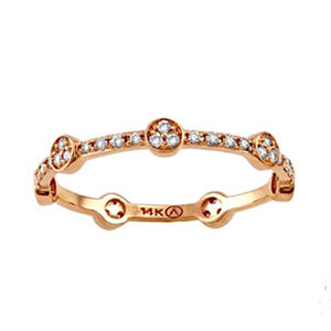 Stackable Diamond Ring in 14K Gold (Assorted Colors)