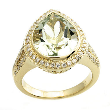 4.42 ct. t.w. Prasiolite and Diamond Ring in 14K Yellow Gold