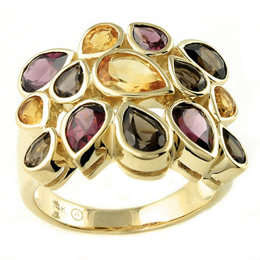 Citrine, Rhodolite & Smoky Quartz Ring in 14K Yellow Gold