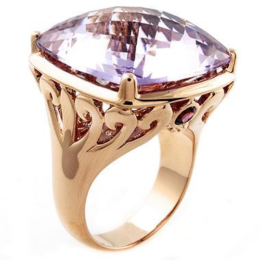Pink Amethyst & Rhodolite Ring in 14K Pink Gold