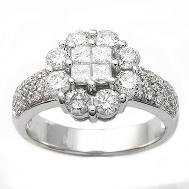 1.50 ct. t.w. Princess and Round Diamond Ring in 14K White Gold (H-I, I1)