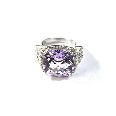 10.73 AMETHYST RING .36TW DIAMOND-925