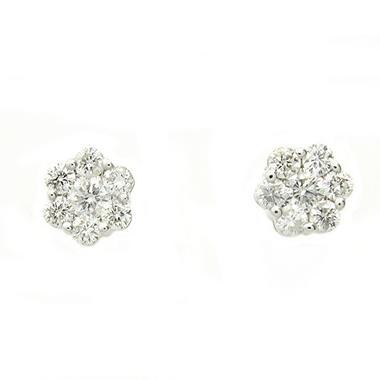 1.0 ct. t.w. Diamond Flower Stud Earrings in 14K White Gold (H-I, I1)