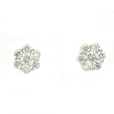 1.0 ct. t.w. Diamond Flower Stud Earrings in 14K White Gold (H-I, I1)