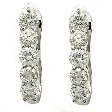 "2.00 ct. t.w. ""J"" Hoop Diamond Earrings in 14K White Gold (H-I, I1)"
