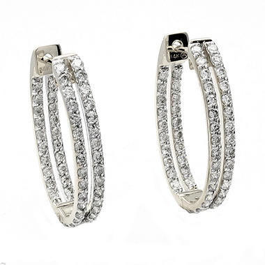 1.25 ct. t.w. Diamond Inside-Out Oval Hoop Earrings in 14K White Gold (H-I, I1)